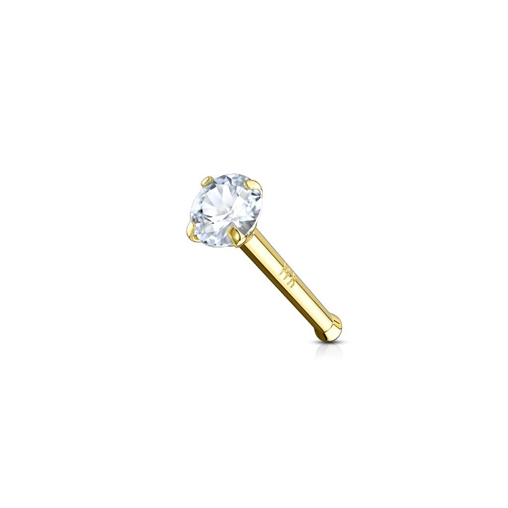 14ct Gold Claw Set Cz Nose Bone 20g Highness Nz